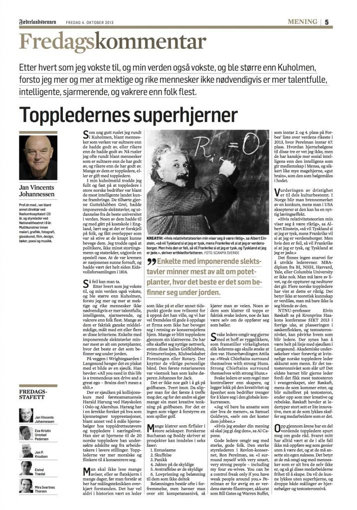 Jan Vincents Johannessen - fredagskommentar 04.10.13