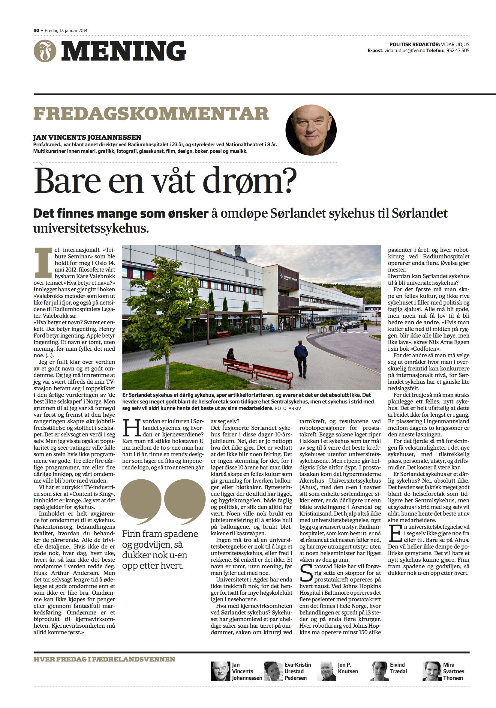 Jan Vincents Johannessen - fredagskommentar 17.01.14
