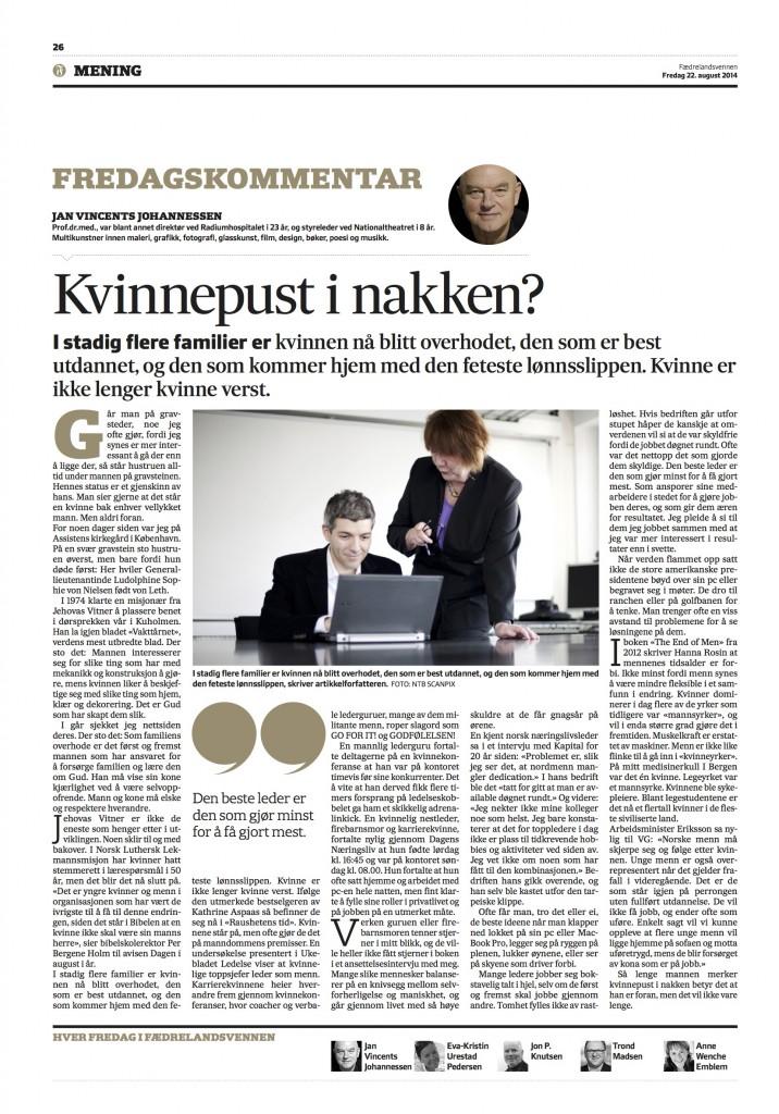 Fredagskommentar Jan Vincents Johannessen 22.08.14