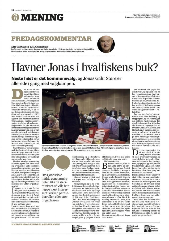 Fredagskommentar Jan Vincents Johannessen 03.10.14